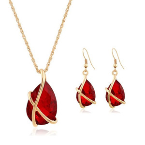 SET-001 Crystal Water Drop Necklace Earrings Jewelry Set For Women