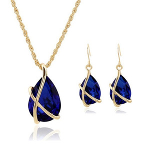 SET-002 Crystal Water Drop Necklace Earrings Jewelry Set For Women