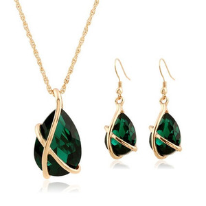 SET-003 Crystal Water Drop Necklace Earrings Jewelry Set For Women