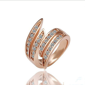 RG-001 JASSY® Brand Women Rose Gold Ring Crystal Jewelry.