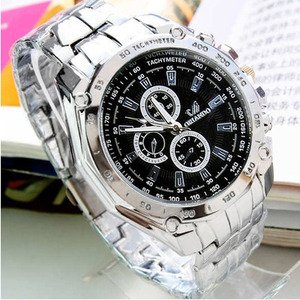 Men's Fashion Stainless Steel Belt Sport Business Quartz Watch Wristwatches VVF