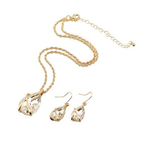 SET-004 Crystal Water Drop Necklace Earrings Jewelry Set For Women