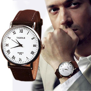 Luxury Fashion Faux Leather Strap Mens Casual Quartz Analog Wrist Watch Watches Brown